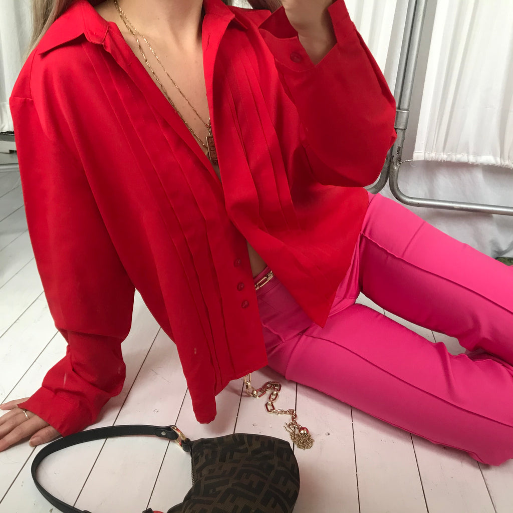 Vintage 1979s Cherry Red Blouse With Pleated Front