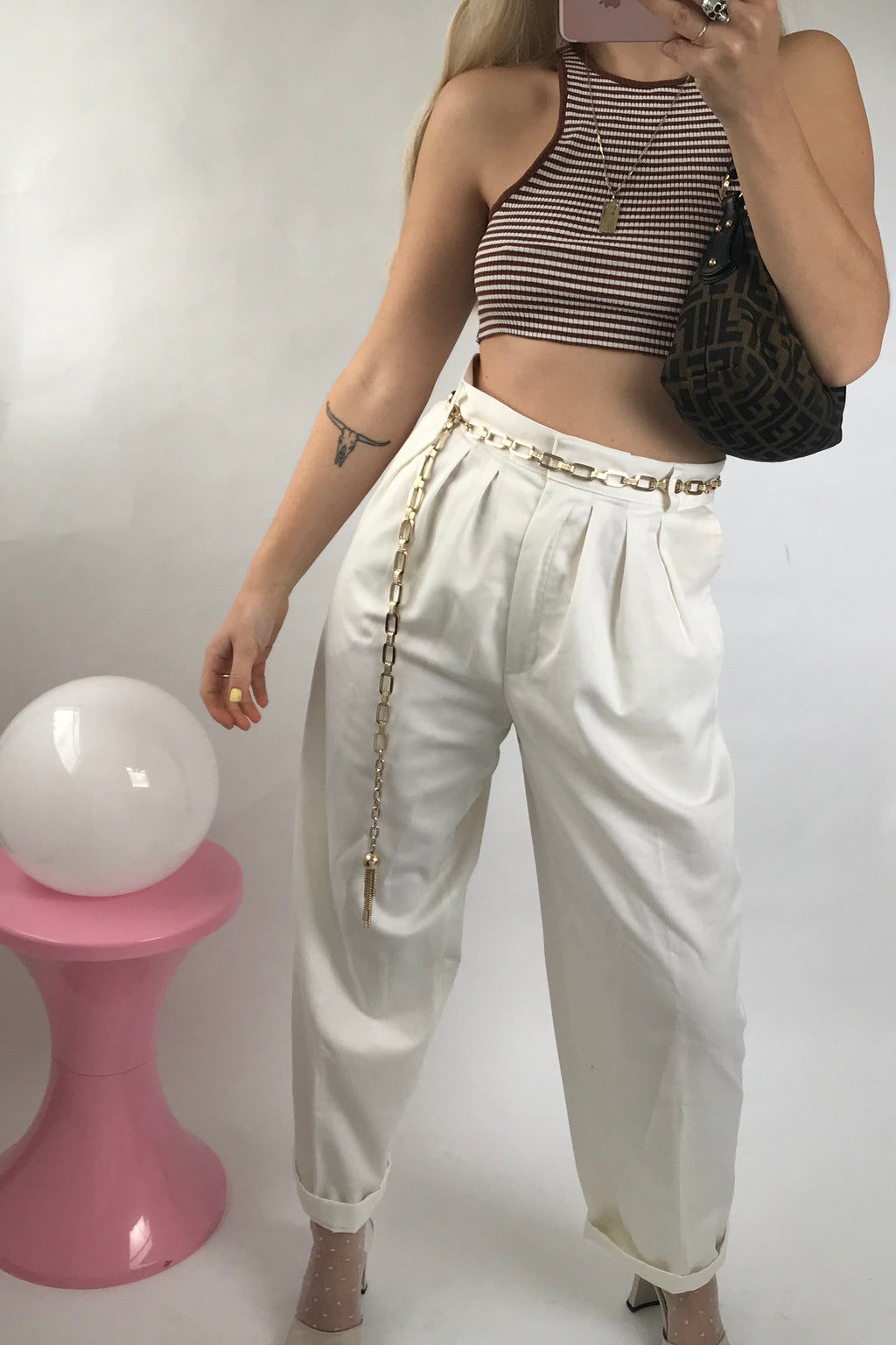 Vintage True 1970s White Tapered Trousers