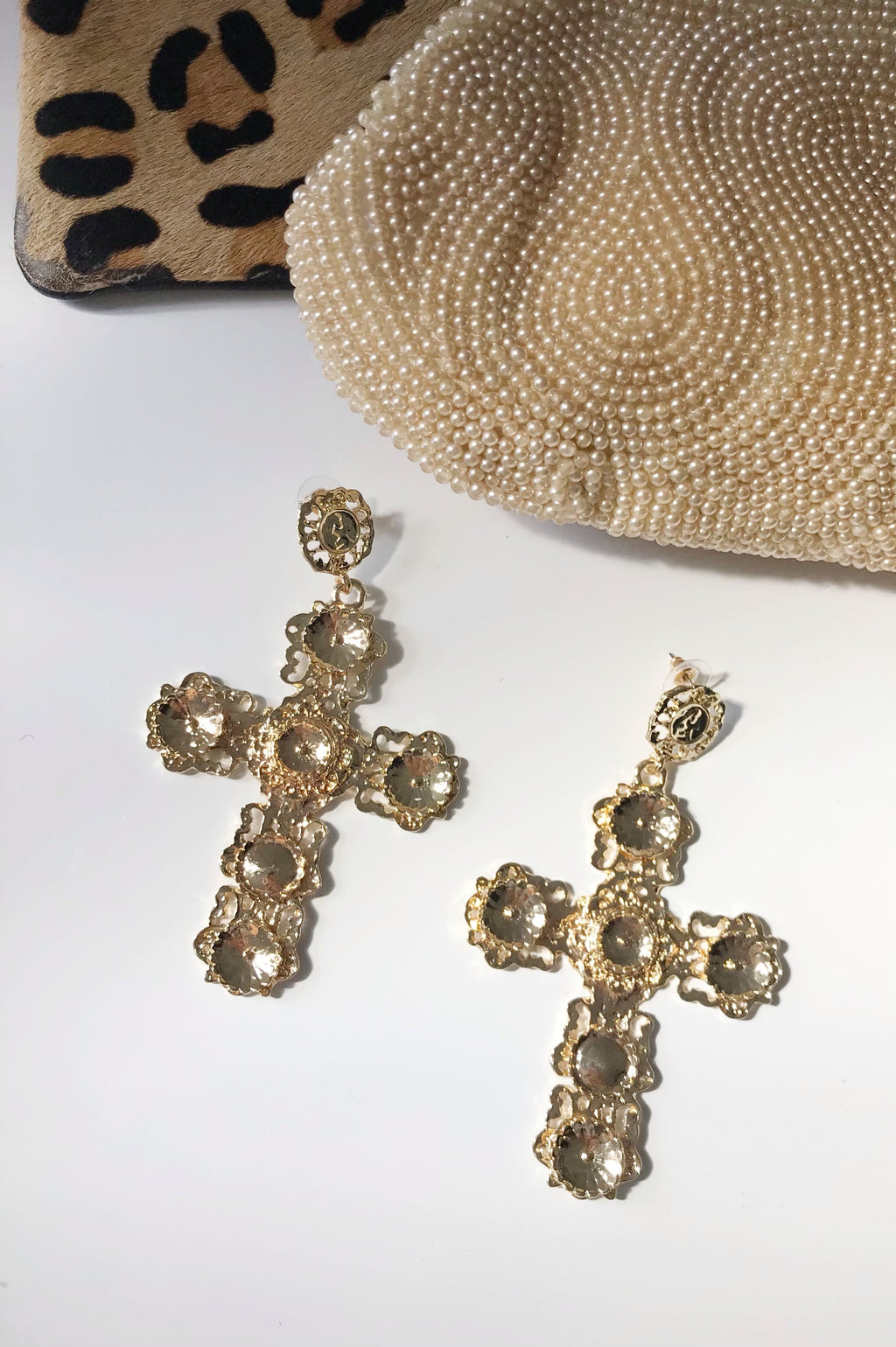 Oversized Gold Cross Earrings
