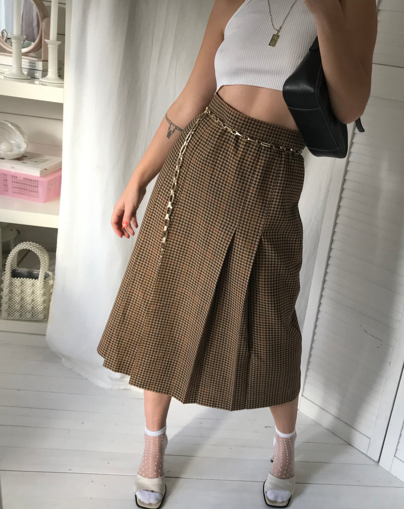 Vintage 1990s Pure Wool Checked Tartan Pleated Midi Skirt By St Michael