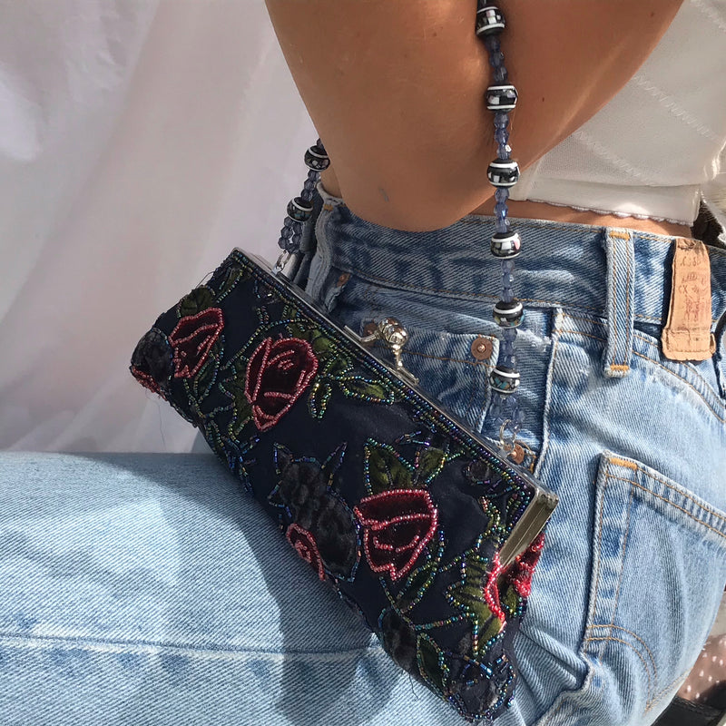Vintage 90s Y2K Floral Beaded Rose Mini Slim Handbag
