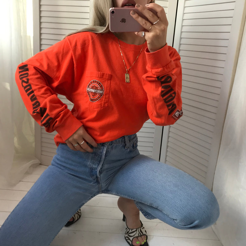 Vintage 90s Y2K Bright Neon Orange Long Sleeved Harley Davidson Biker Babe T-Shirt