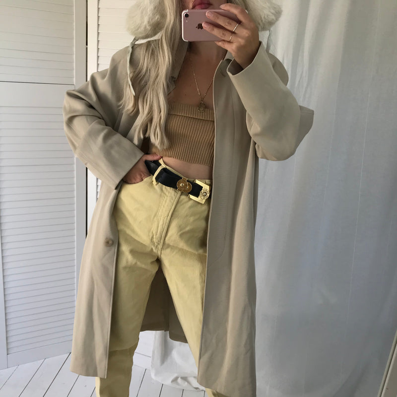 Vintage 90s Beige Nude Long Trench Mac Jacket By St. Micheal