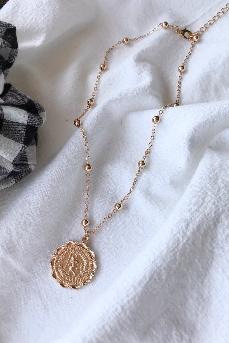 Gold Tone St Christopher Pendant Choker Necklace