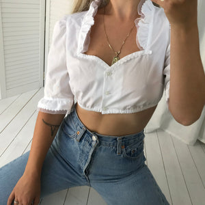 Vintage 90s White Button Up Cotton Milkmaid Crop Top With Ruffle Trim
