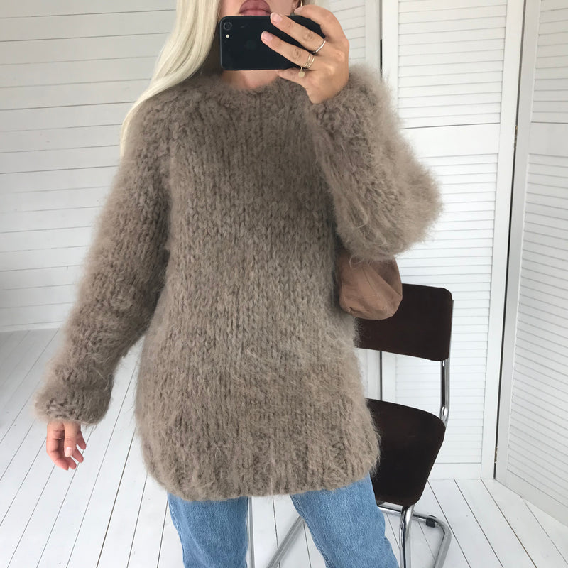 Vintage 70s Super Fluffy Mohair Wool Blend Extra Chunky Knit Handmade Jumper