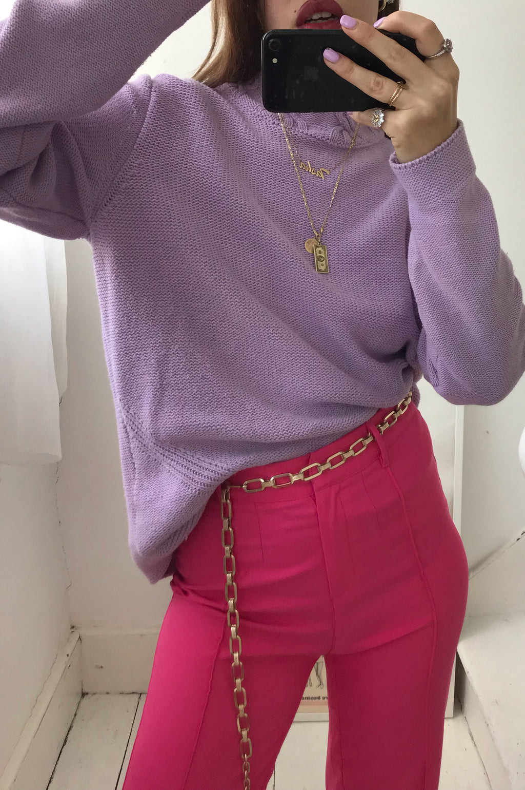 Vintage 90s Lilac Purple Knitted Cotton Jumper With High Neck