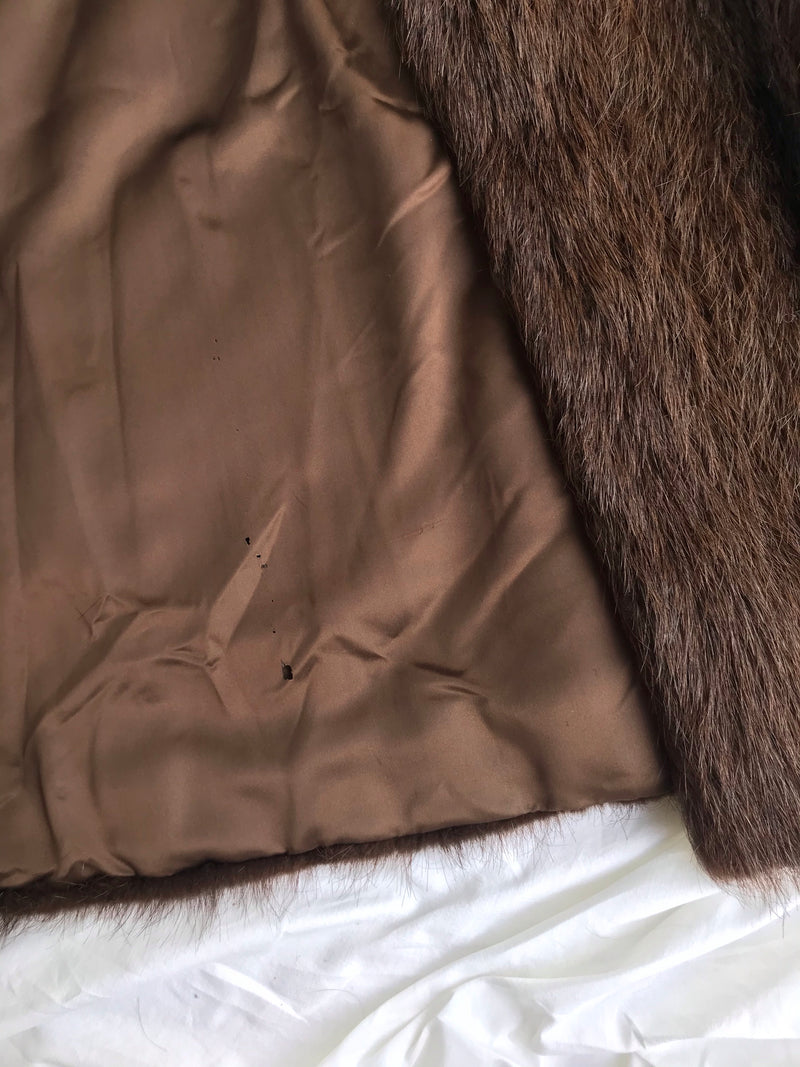 Vintage 1950s Long Brown Plush Real Beaver Fur Long Coat