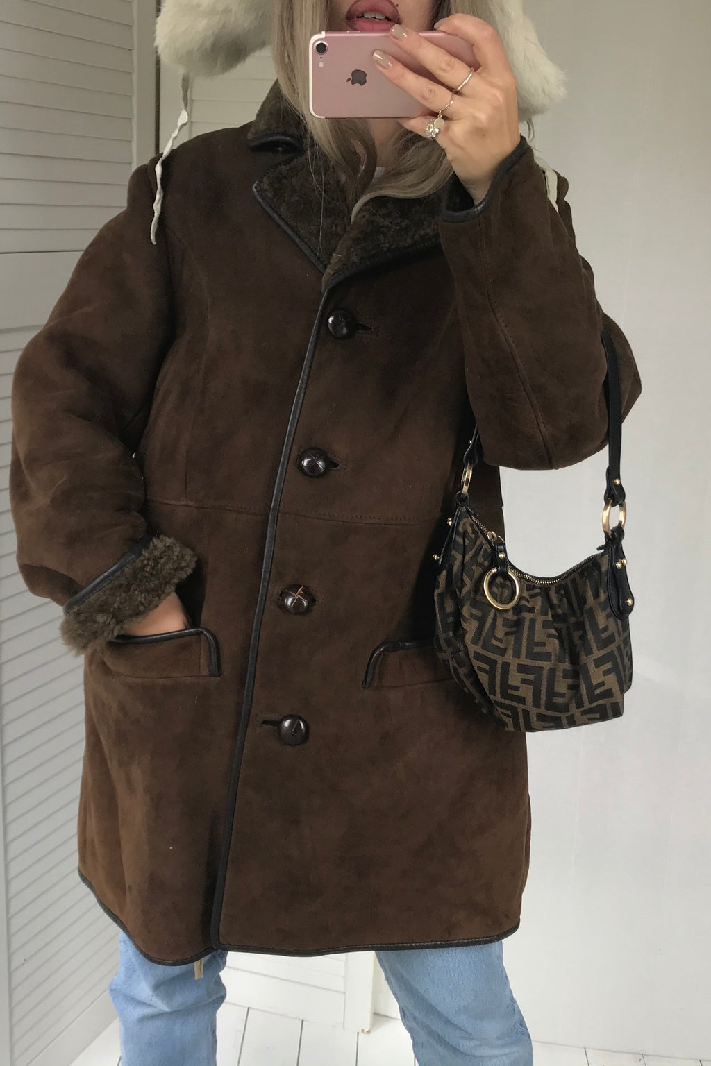 Vintage 1970s 100% Real Suede Dark Chocolate Brown Shearling Sheepskin Jacket