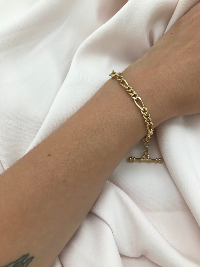 Vintage 90s Gold Tone Chunky Chain T-Bar Bracelet