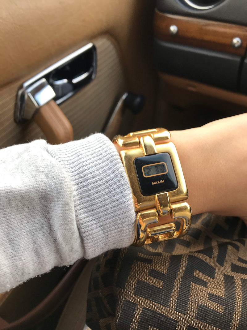 Vintage 1990s Chunky Gold Tone Digital Wrist Watch