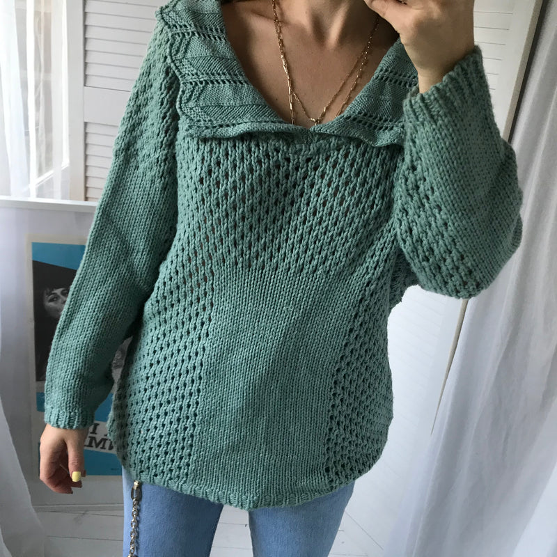 Vintage 70s Hand Knitted Teal Jumper With Statement Collar