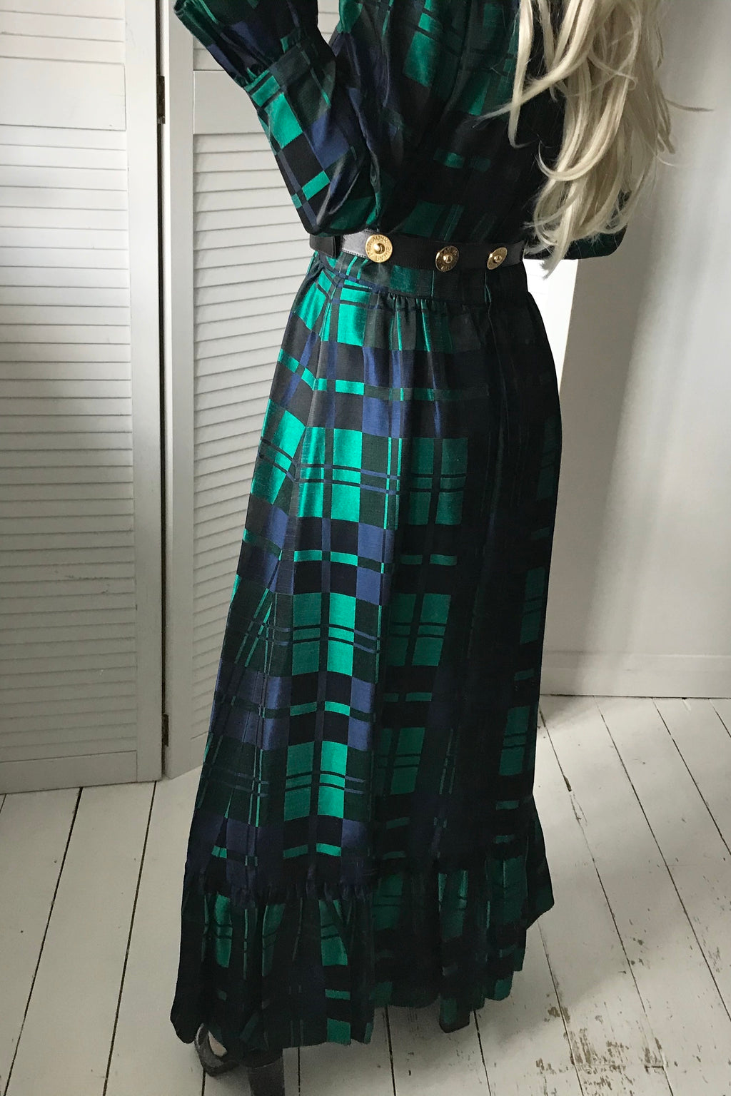 Vintage 70s Long Tartan Checked Emerald Green & Navy Ankle Length Prairie Dress With Ruffle Trim & Beading