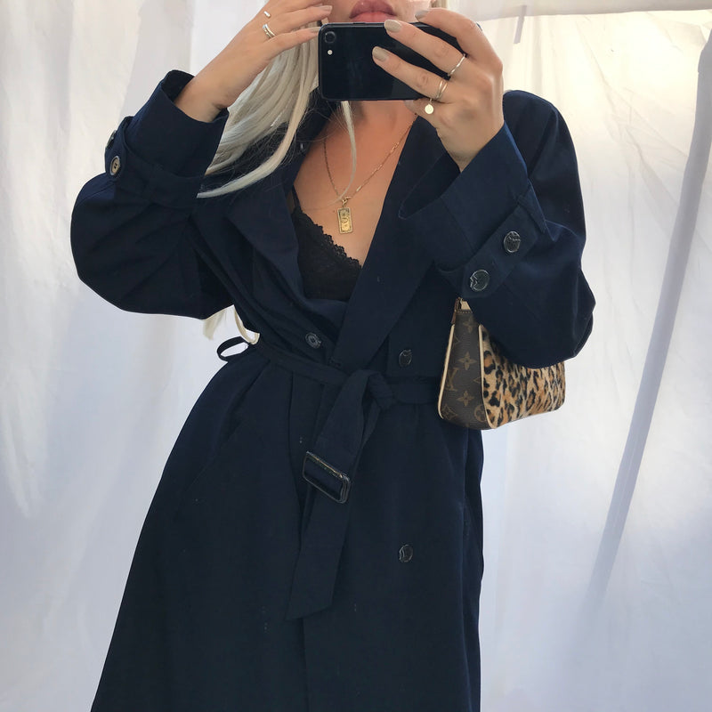 The most incredible Vintage 90s Navy Blue Mac Oversized Trench Coat Jacket