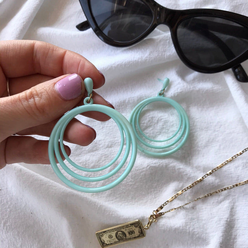 The Cutest Pair of Vintage 60s Plastic Oversized Turquoise Hoop Earrings