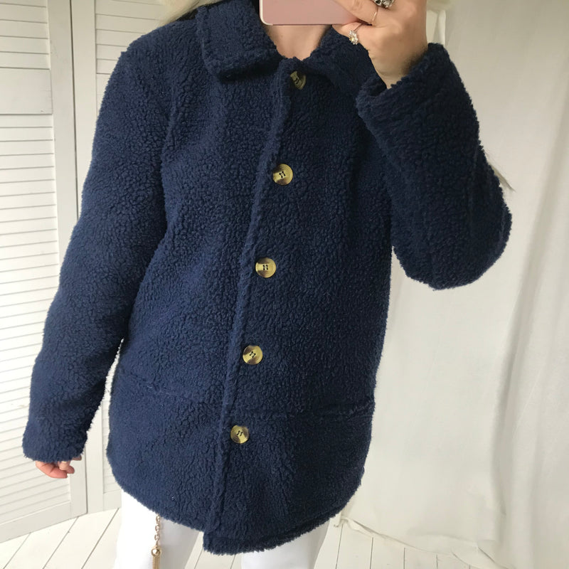 Vintage 00s 90s Navy Blue Button Up Fleece Jacket