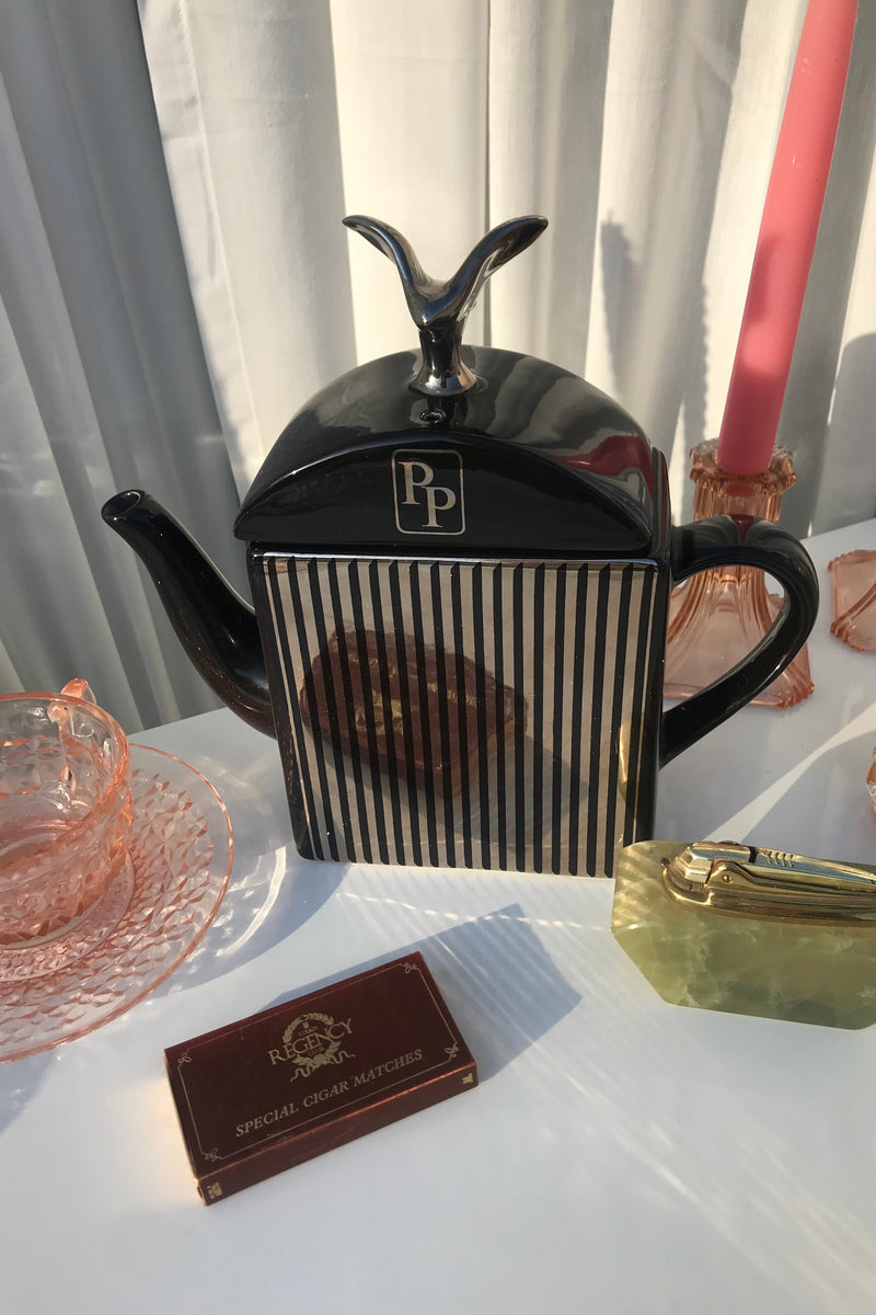 Vintage 1970s Black & Gold Rolls Royce Style Decorative Teapot