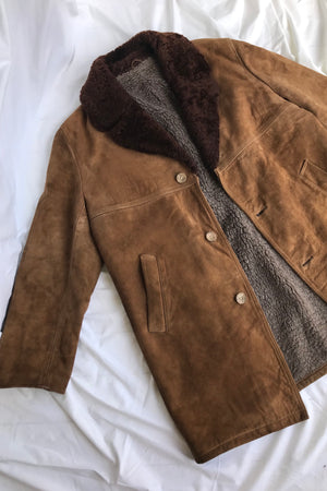Vintage 1980s Long Brown Suede Coat with Fake Fur Lining