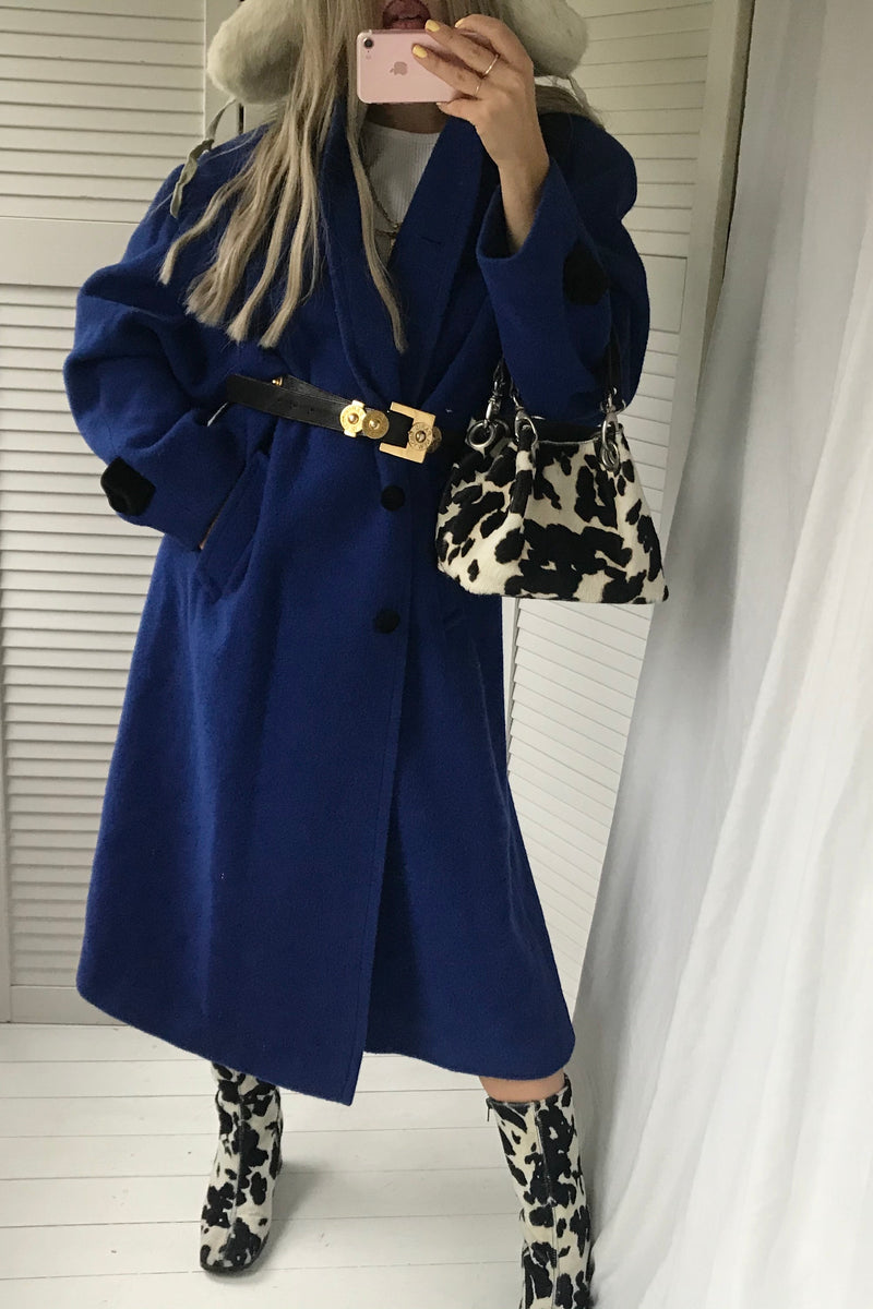 The most incredible Vintage 80s 100% Wool Oversized Long Royal Blue Jacket With Black Velvet Collar