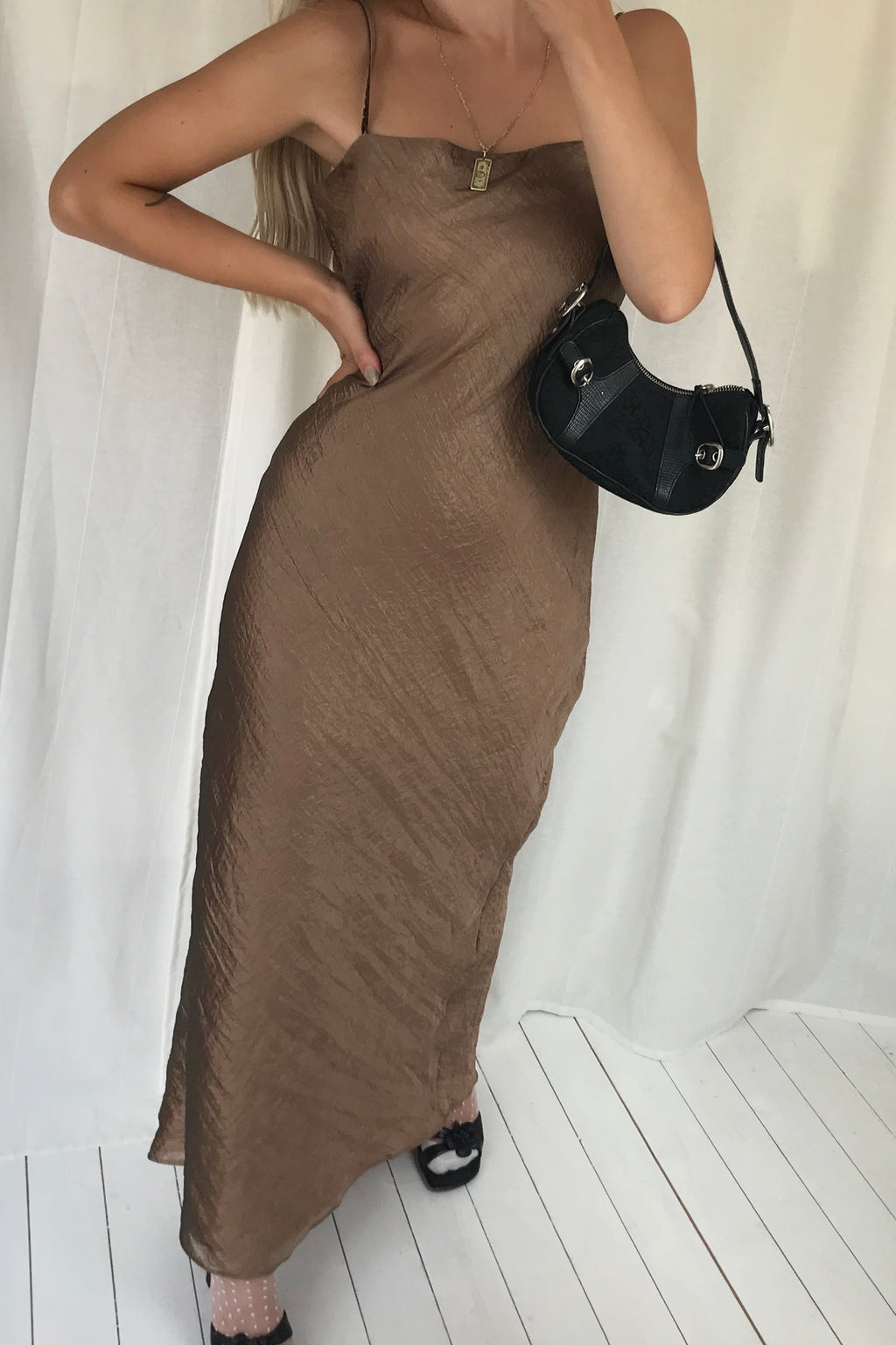 Vintage Y2K 90s Long Metallic Brown Crinkle Dress