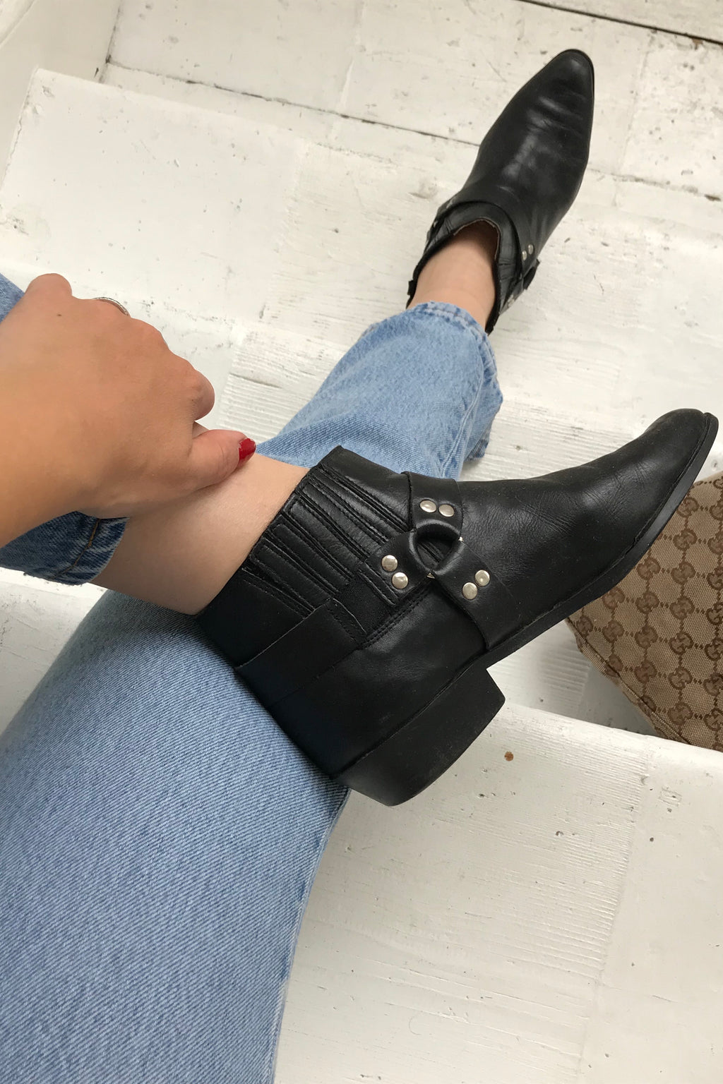 Vintage 90s Biker Real Leather Black Ankle Boots