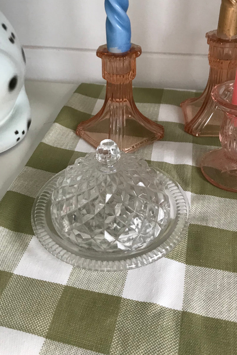 Vintage 1940s Clear Cut Glass Butter Dish