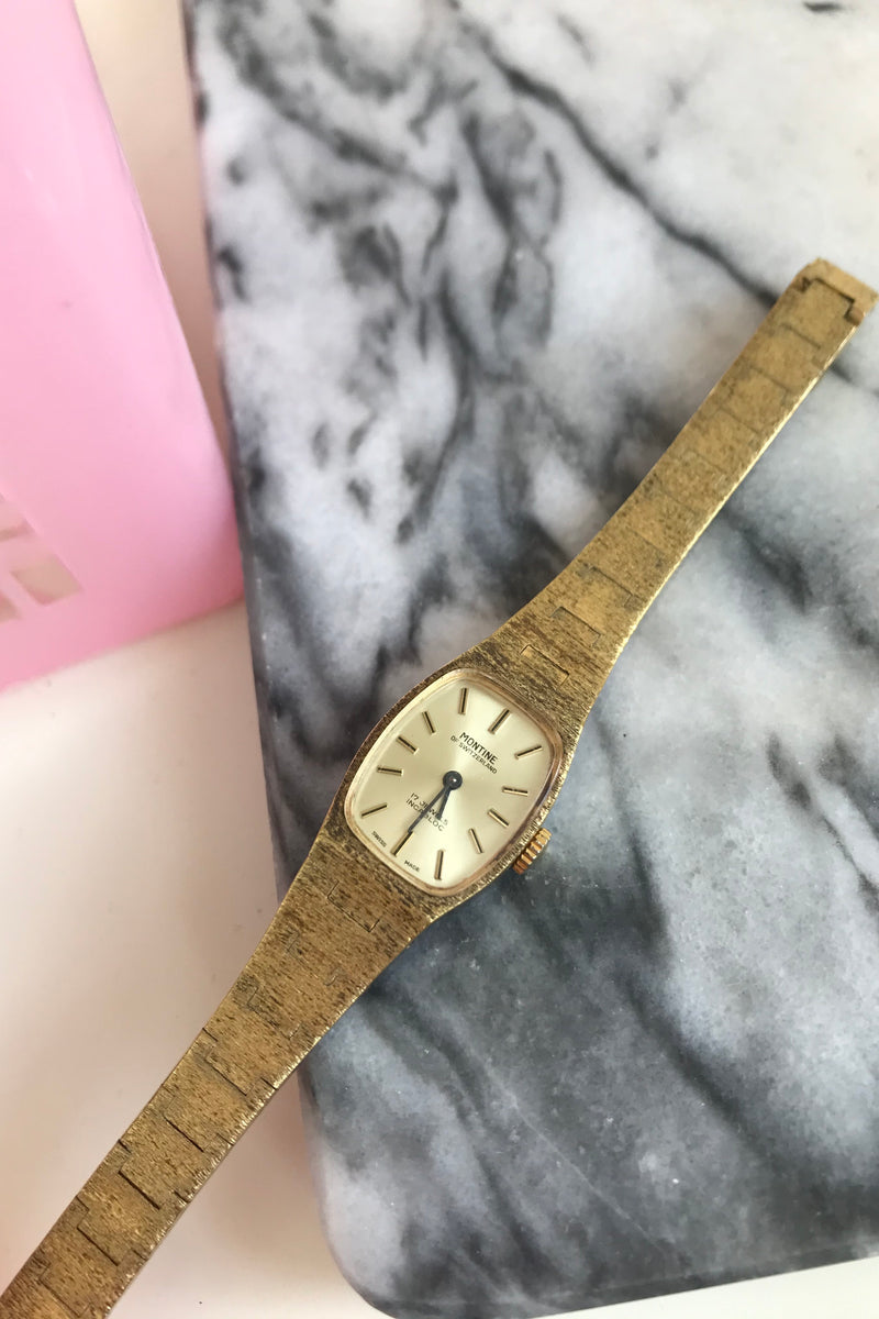 Vintage 1960s Gold Tone Ladies Wind Up Wrist Watch With Brushed Gold Link Strap  - 17 Jewelled By Montine of Switzerland