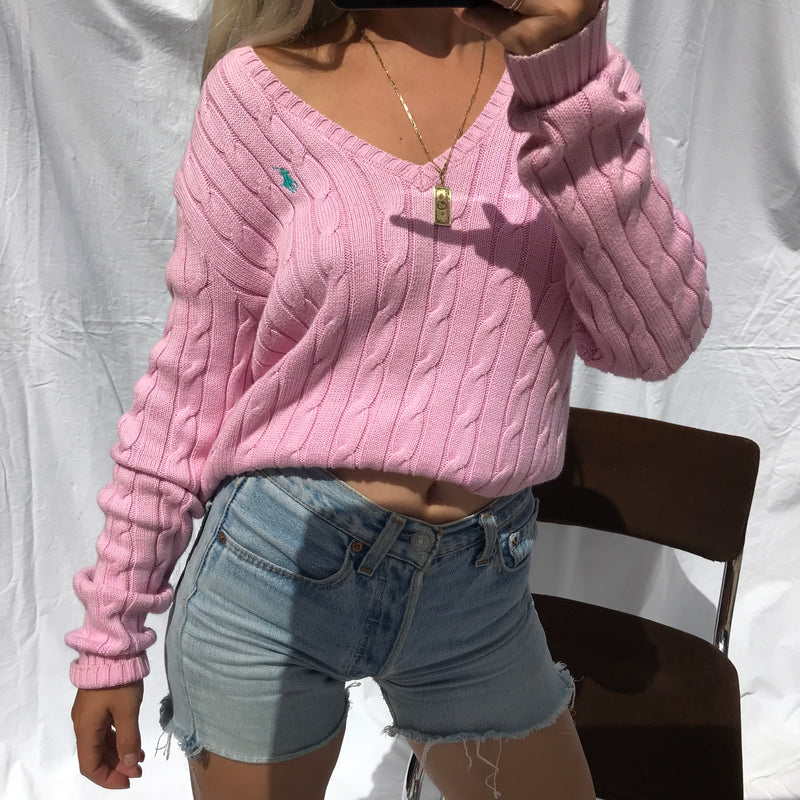 Vintage Y2K Baby Pink Cable Knitted V-Neck Jumper By Ralph Lauren