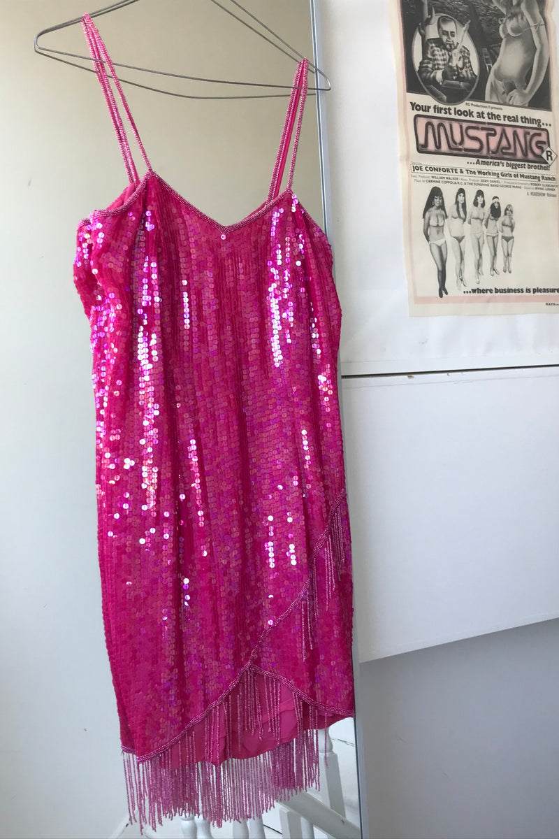 Vintage 90s Y2K Hot Pink Sequin & Beaded Trim Cocktail Dress