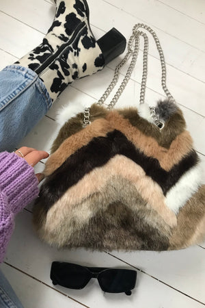 Vintage 90s Faux Fur Handbag With Silver Tone Chain