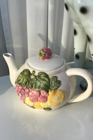 Vintage Fruit Basket Decorative Ceramic Teapot