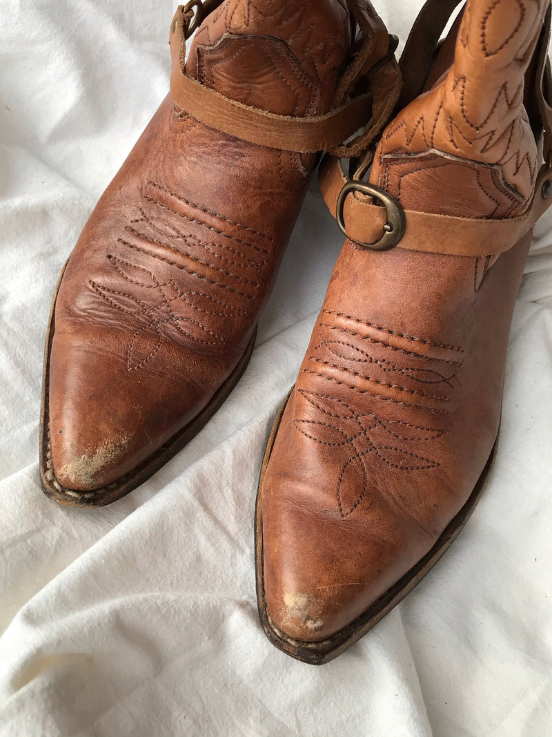 Vintage 80s Tan 100% Real Leather Cowboy Boots With Brass Spurs