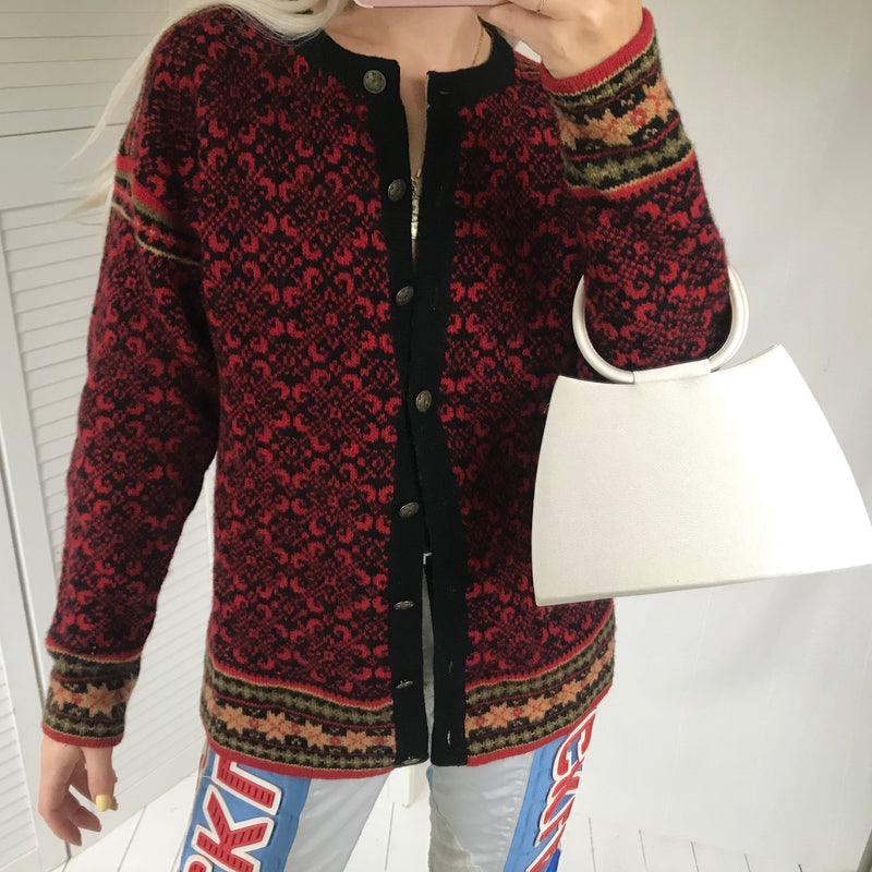 Vintage 00s Dark Maroon Red Knitted Scandinavian Style Wool Cardigan with metallic buttons