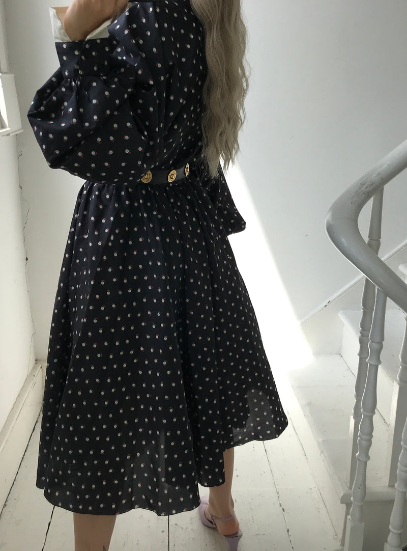 Vintage 80s Oversized Navy Blue Polka Dot Midi Dress With White Collar & Cuffs