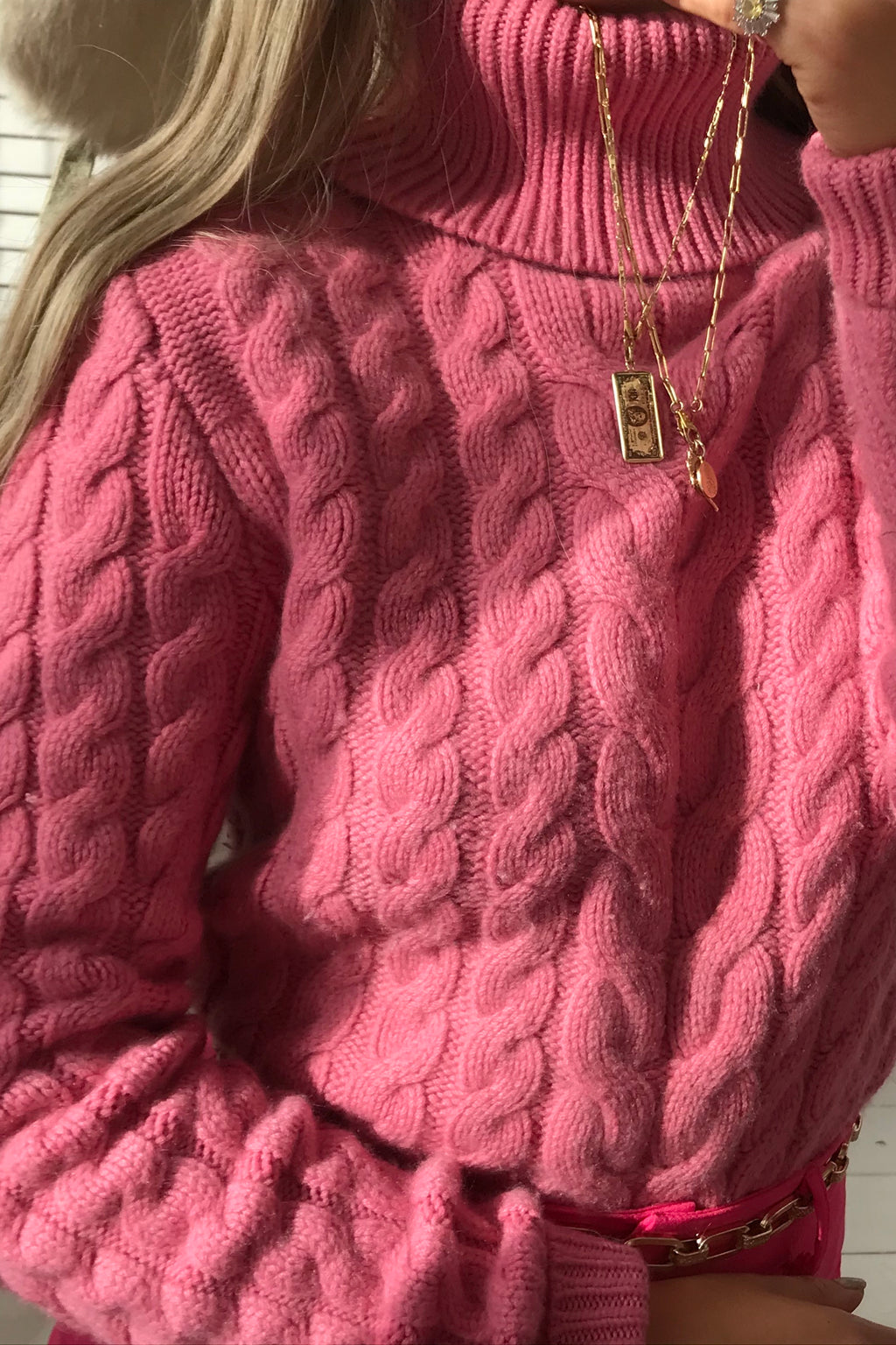 Vintage Y2K Bubblegum Pink Super Soft Cable Knit 100% Cashmere Roll Neck Jumper