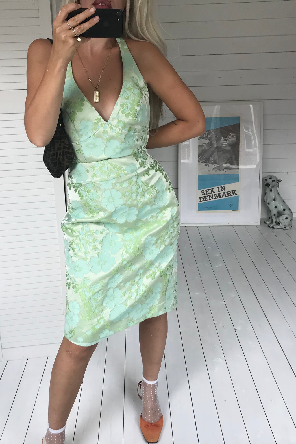 Vintage Y2k Pastel Green Floral Two Piece Skirt & Halter-neck Vest Top