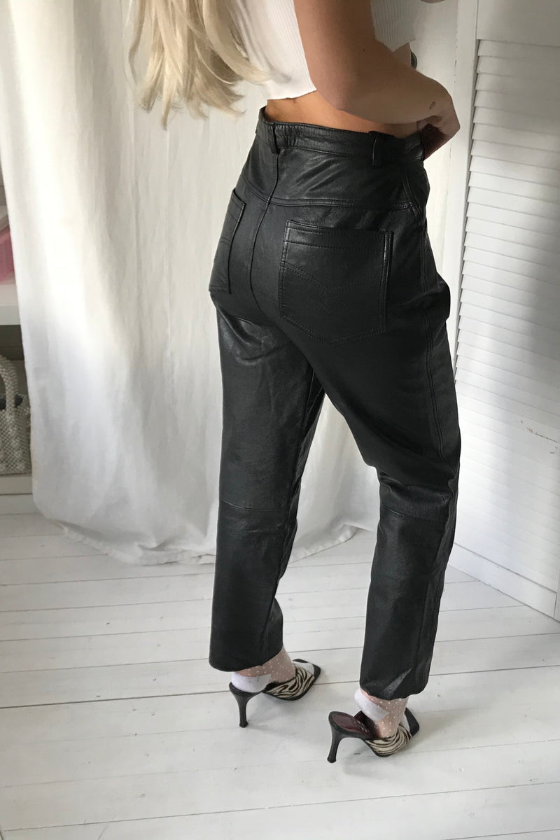 Vintage 80s High Waisted Black Leather Tapered Trousers
