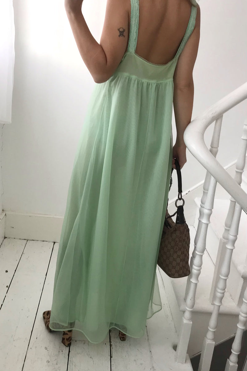 Vintage 1950s Pastel Green Long Babydoll Slip Dress With gorgeous lace bust detail