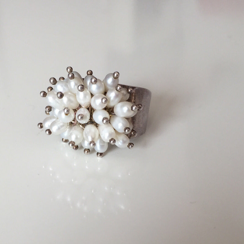 Vintage 925 Sterling Silver Ring With Mini Pearls