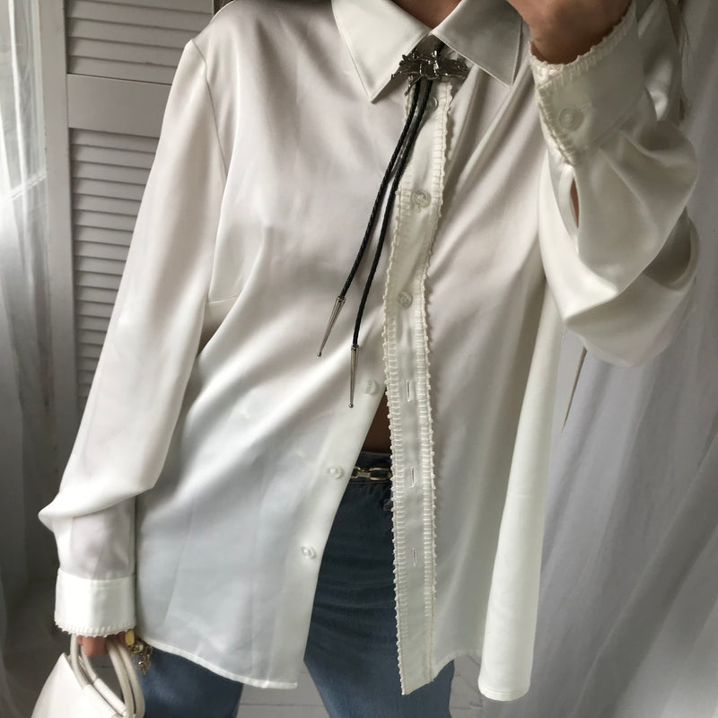 Vintage 90s Oversized Cream Silky Blouse