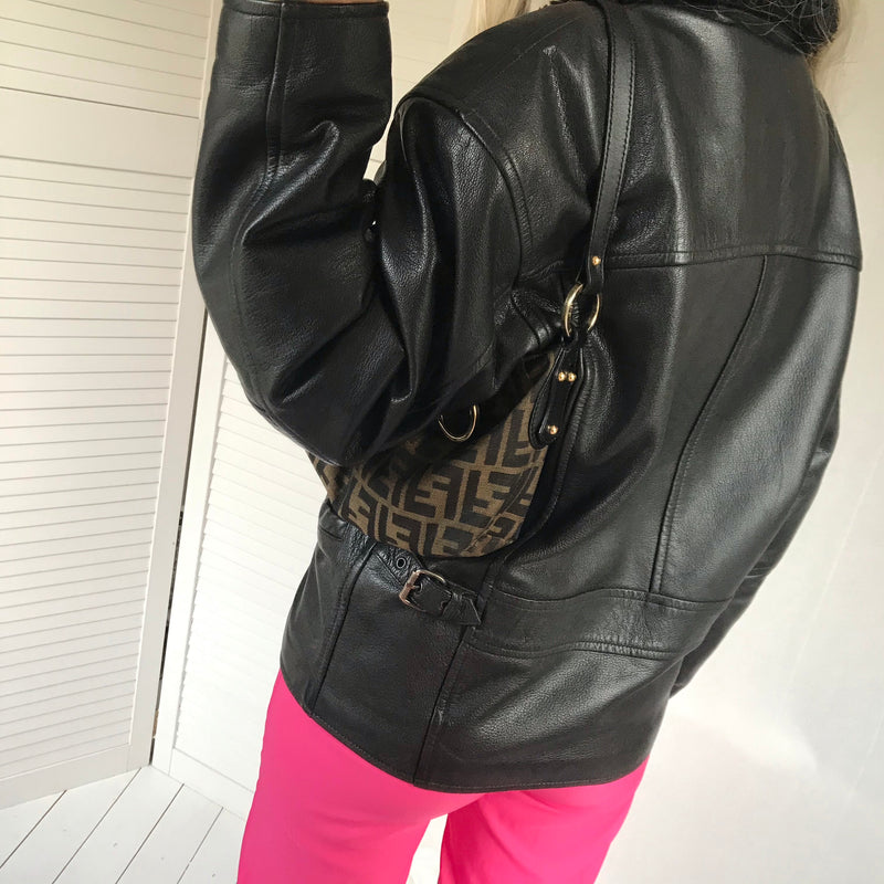 Vintage 90s Black Leather Aviator Jacket With Faux Fur Collar