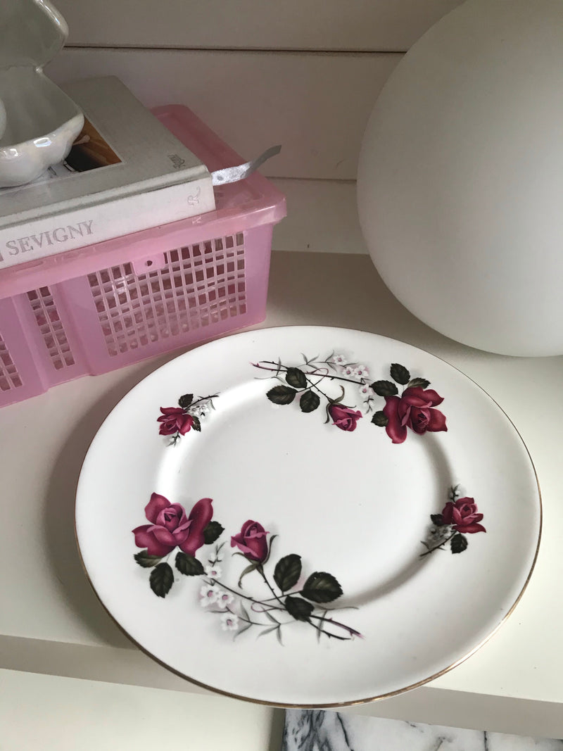Vintage 1990s White Finest Bone China Plate Set With Pink Roses & Gold Rim