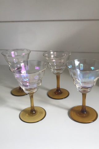 Vintage 1980s Frosted Decorated Glass Small Sherry Cognac Glasses Set Of 3