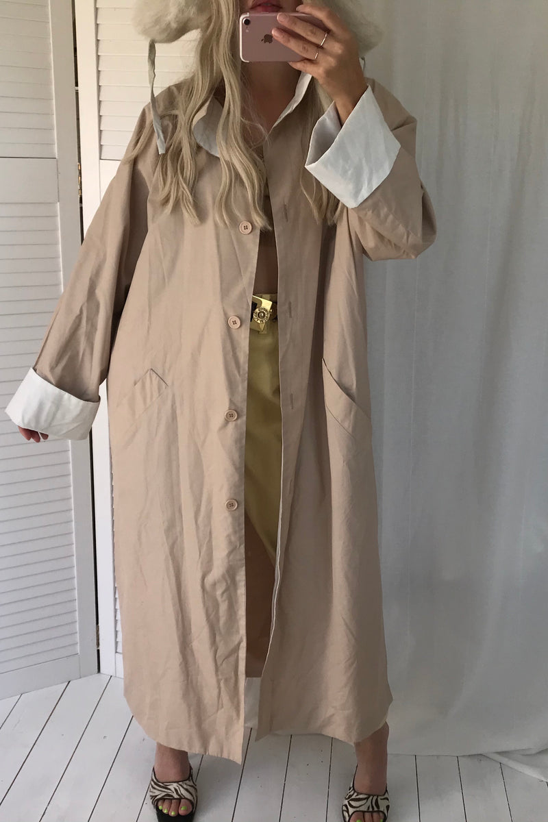 Vintage 90s Beige Nude Long Trench Mac Duster Jacket