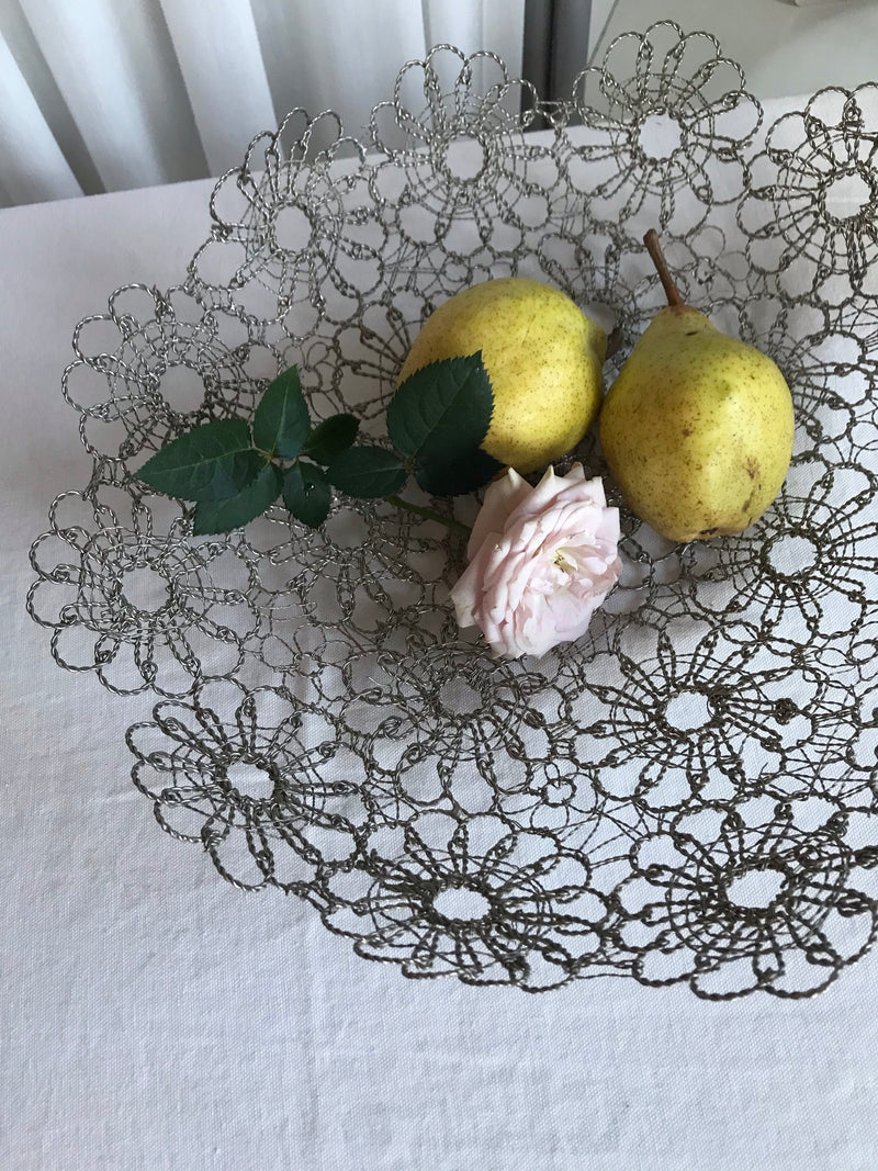 Vintage Hand Crafted Floral Wire Bowl