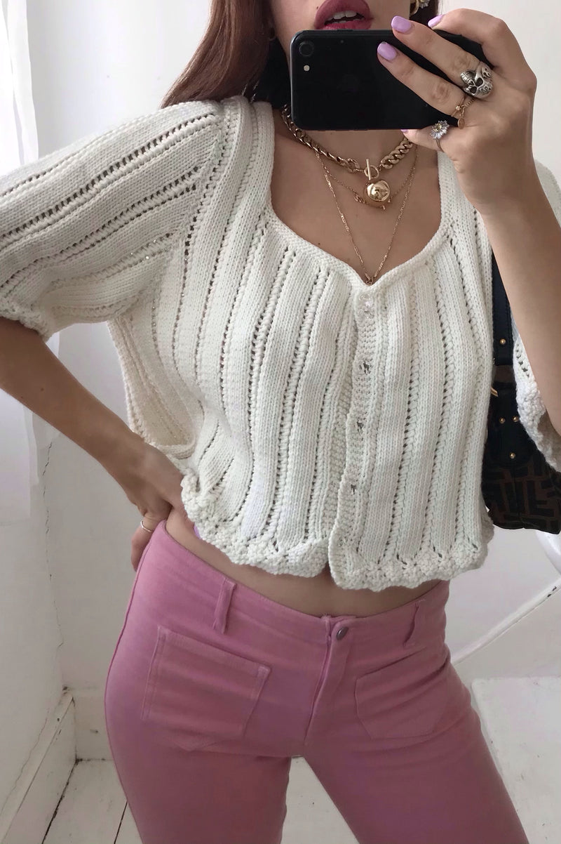 Vintage 70s Hand Knitted White Chunky Knit Top