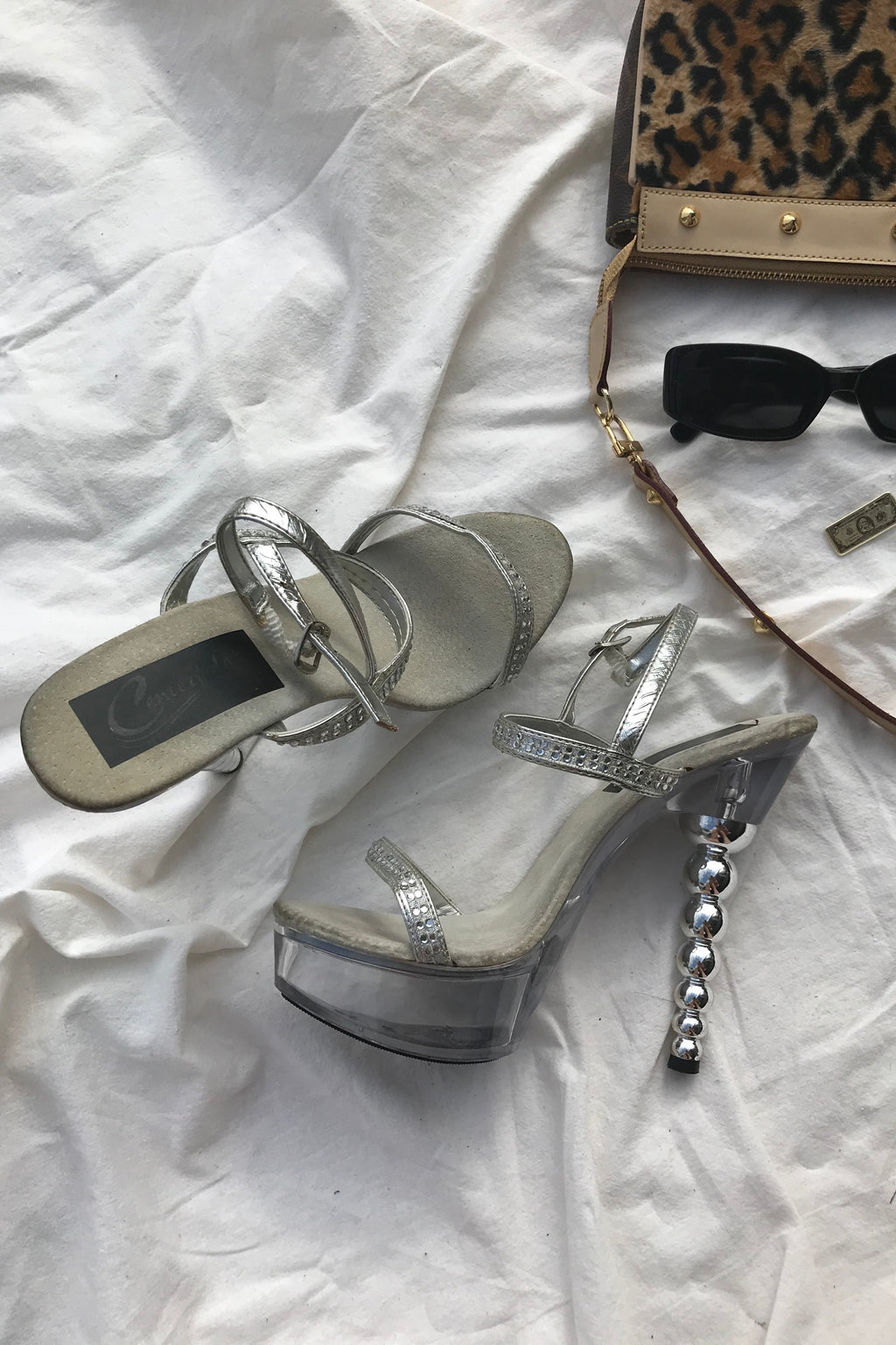 Vintage 90s Y2K Silver Diamante Stripper Platform Heels With Silver Bubble Heels