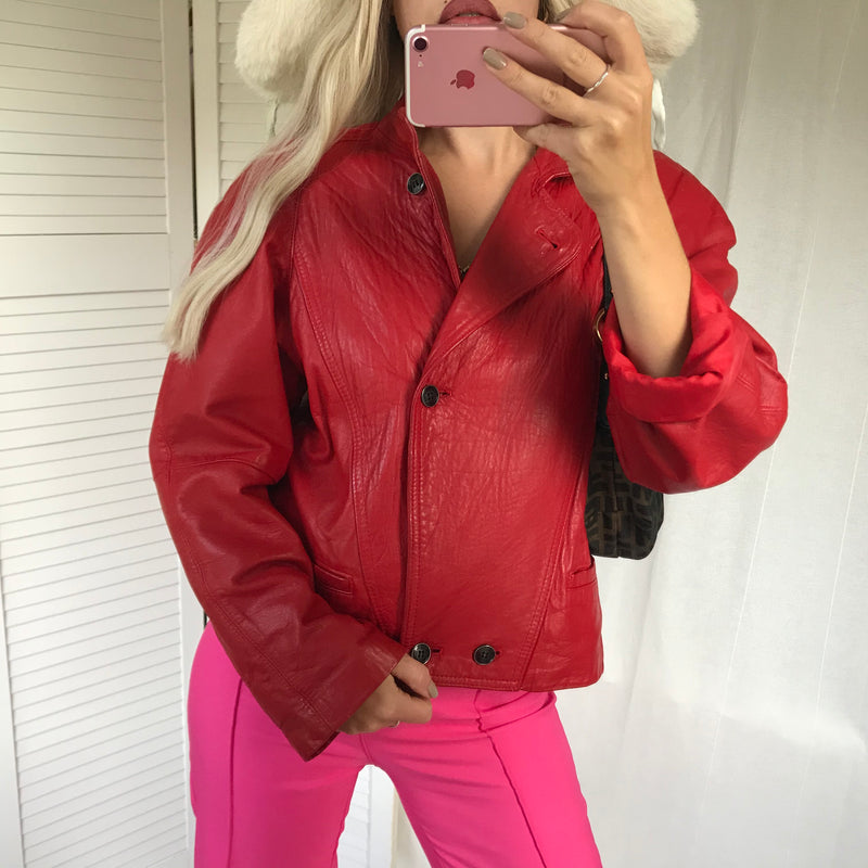Vintage 80s Hot Cherry Red Leather Bomber Jacket