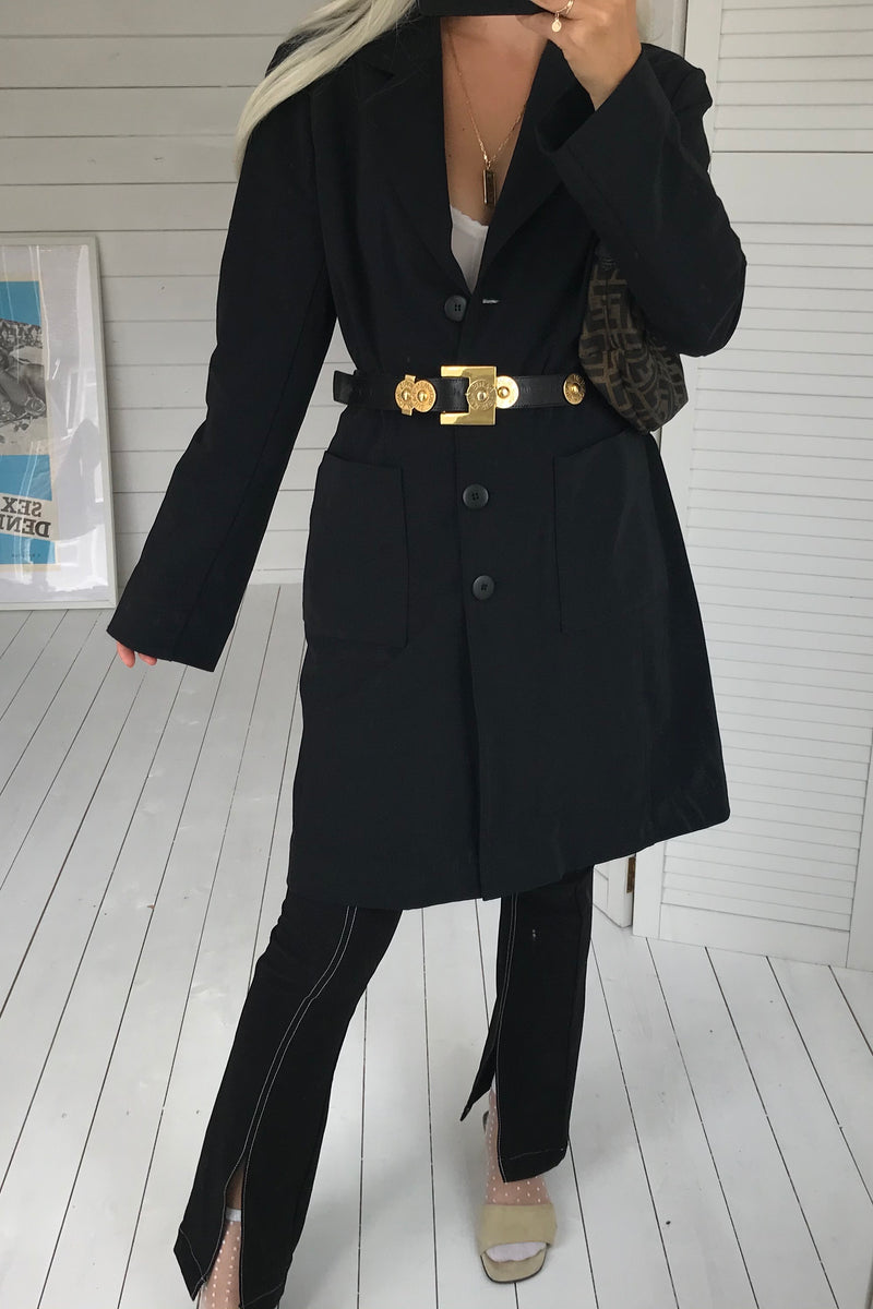 Vintage 90s Y2K Long Black Nylon Trench Jacket