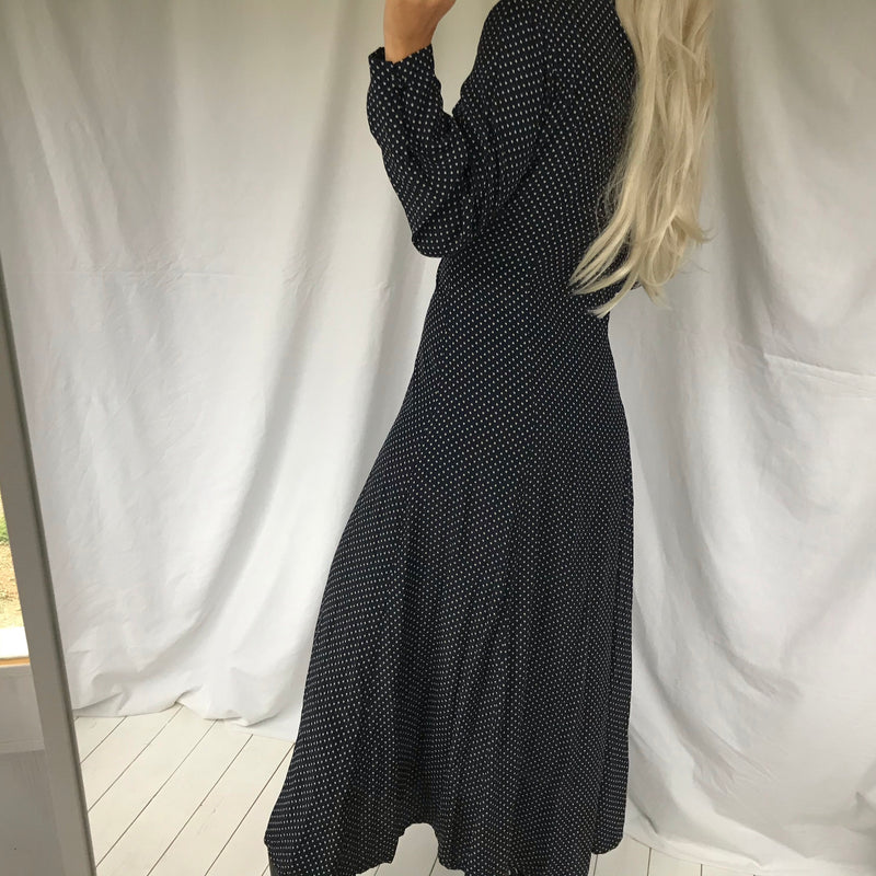 Vintage 90s Navy Blue Polka Dot Long Flowing A-lined Button Down Dress